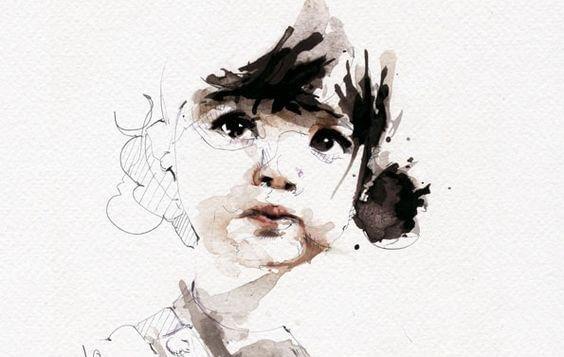 Tegning af lille pige