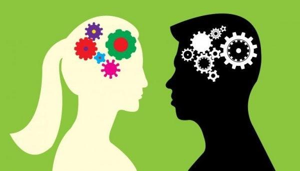 To personer med tandhjul som hjerner