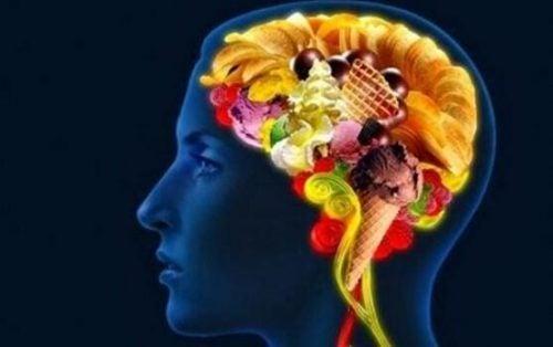 Mad i hjerne symboliserer bevidst spisning
