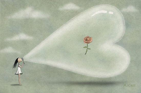 Pige blæser hjerte op med rose i
