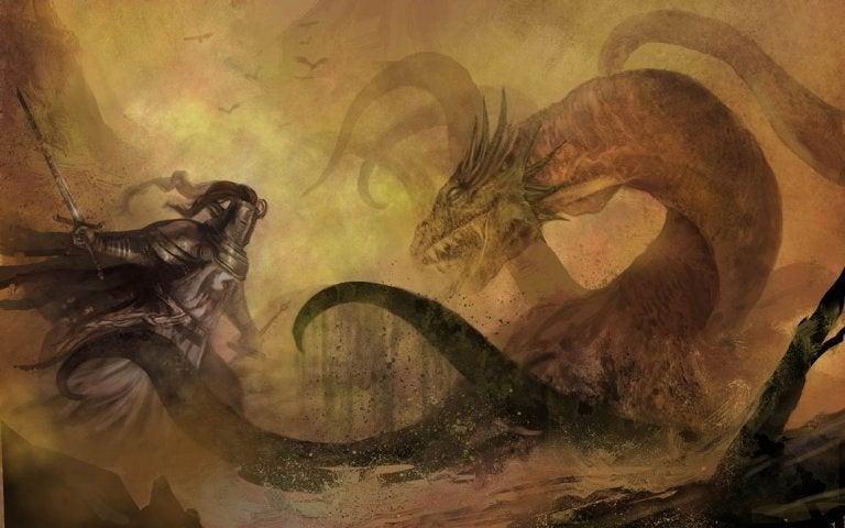 Den nøgne ridder bekæmper drage
