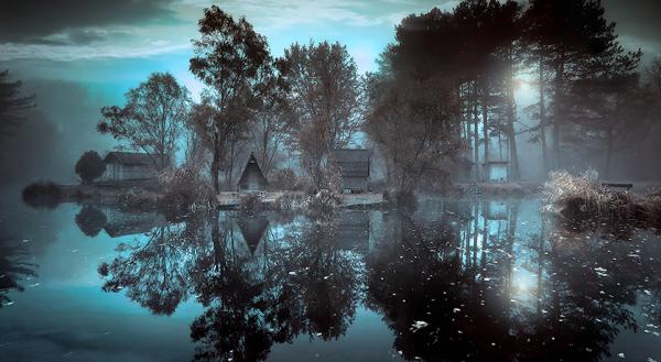 nat over en sø. Pablo Neruda