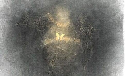 kul tegning af kvinde der holder en sommerfugl. Selvhjælps vaner