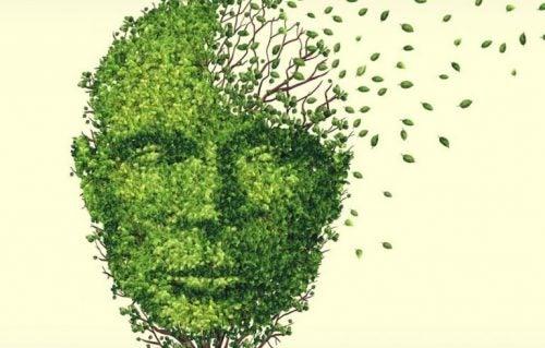 ansigt lavet af blade