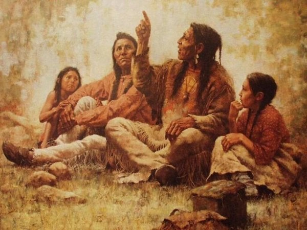 cherokee-indianer fortæller legende om de to ulve