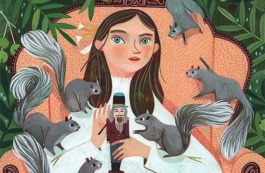 pige omringet af egern. stresser det dig?