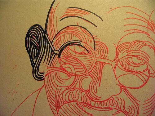 Tegning af Gandhi's ansigt