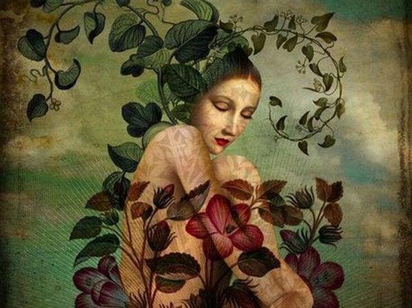Kvinde med blomstergrene omkring sig