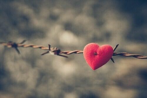 Et hjerte på pigtråd symboliserer, hvordan vrede forgifter krop og sind