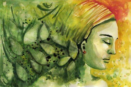 Maling af en kvindes ansigt med grønne gule og orange farver omkring sig