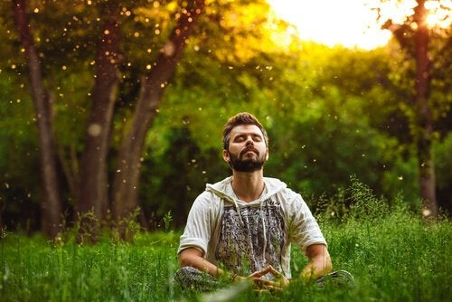 Mand sidder på en græsplæne og mediterer