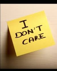 "Gul seddel med teksten ""I don´t care"" illustrerer apati"