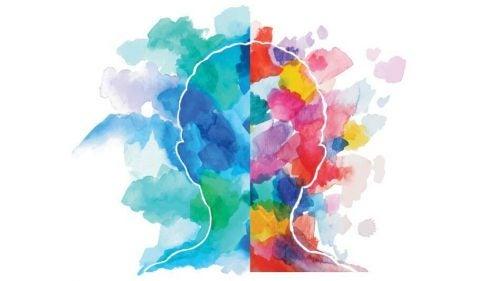 Omrids af et hoved med meget farverige farver