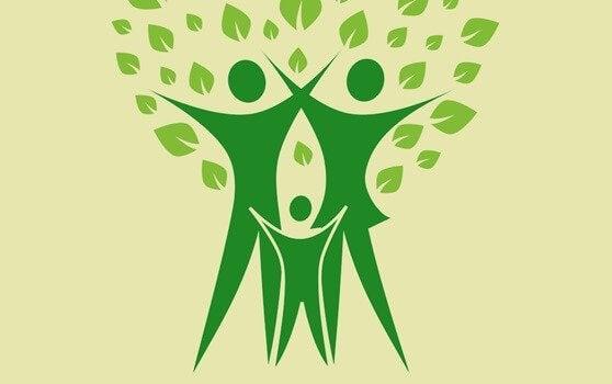 Tre figurer symboliserer et stamtræ