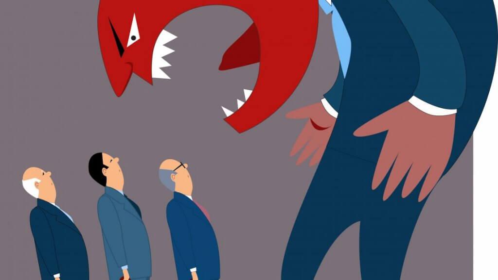 Vred chef råber af ansatte som eksempel på irritable mennesker