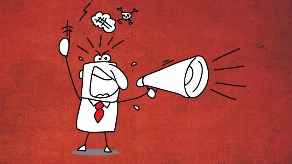 Vred mand råber, da han er eksempel på irritable mennesker