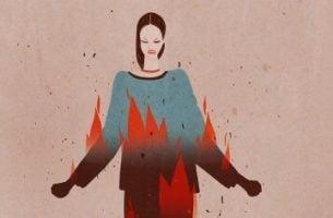 Vred person med ild i trøjen symboliserer irritable mennesker