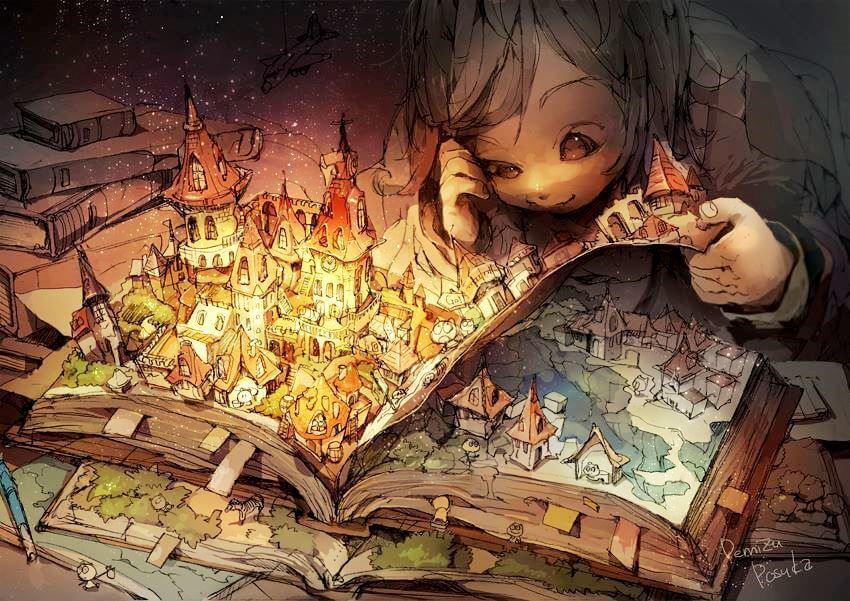 Barn åbner livlig bog som illustration af narrativ terapi