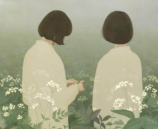 To kvinder på blomstermark
