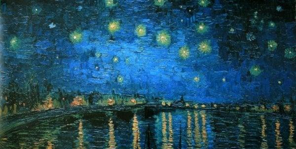 Maleri af sø og nattehimmel