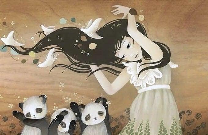 Kvinde med vind i håret og små pandaer under