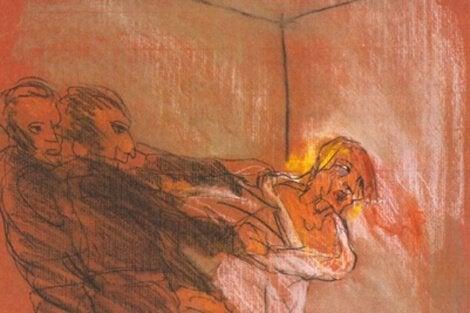 Tegning af person, der oplever delirium, i form af mørke mennesker, der vil fange ham