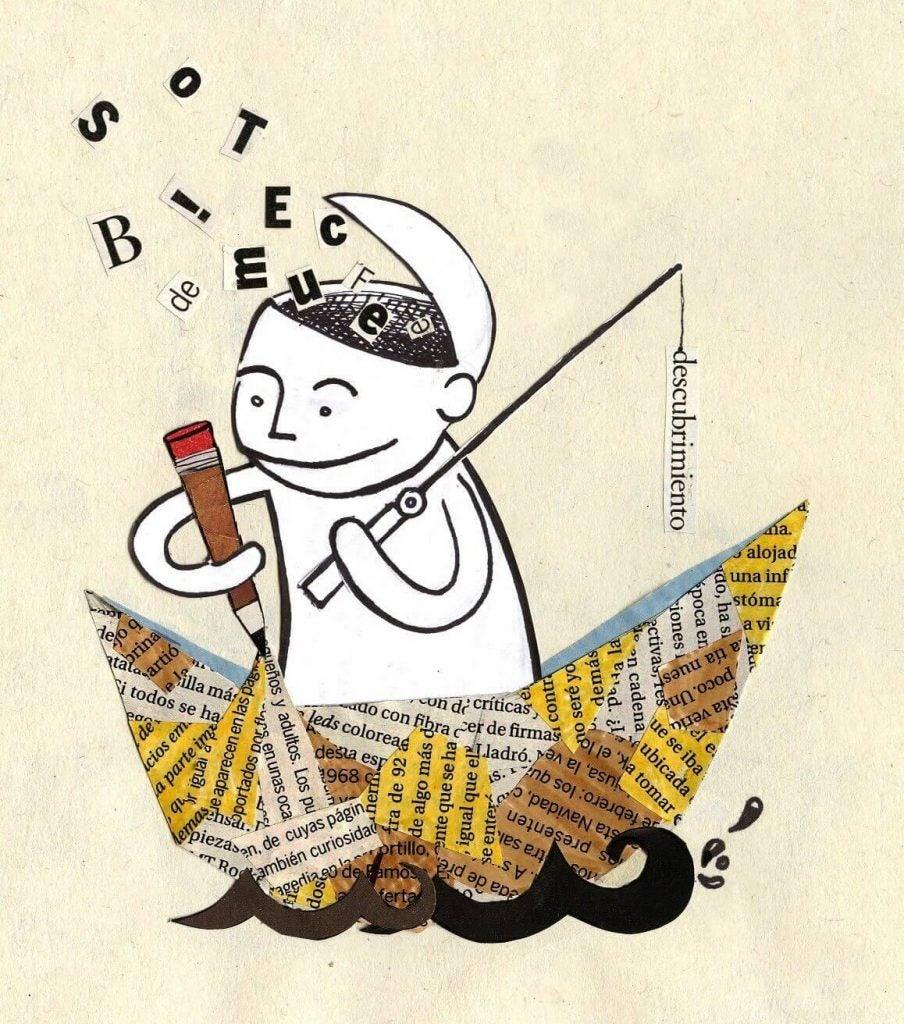 Mand på skib af avispapir