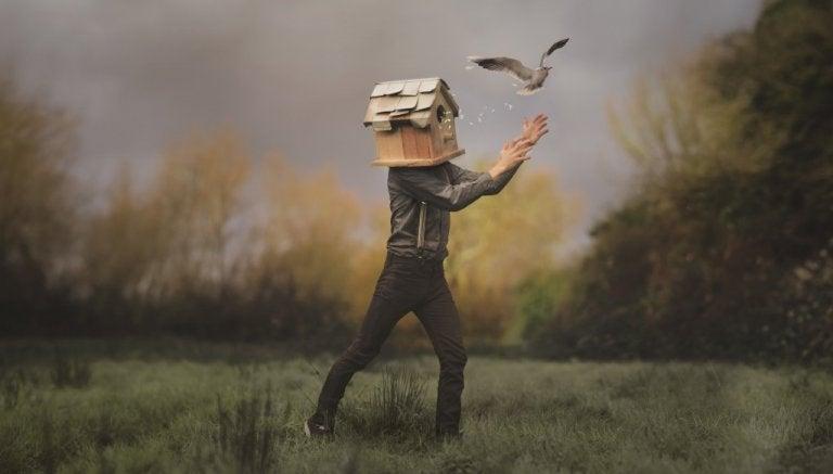 Person med hoved i fuglehus symboliserer emotionelle fejl, vi begår med lukkede øjne