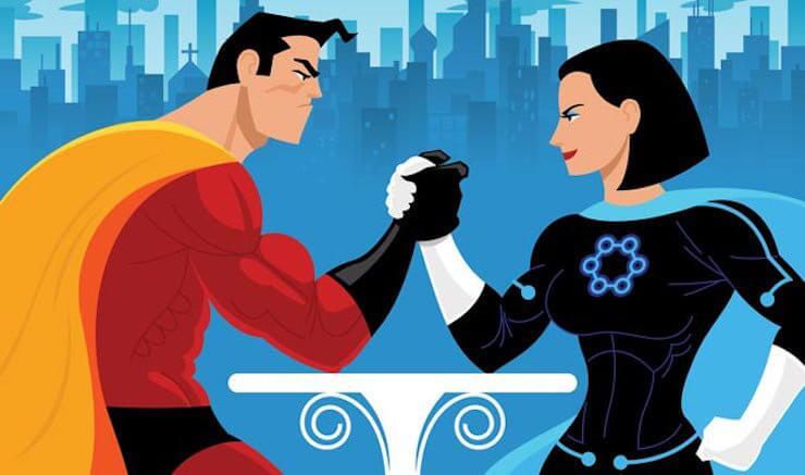 Superhelt og superheltinde lægger arm