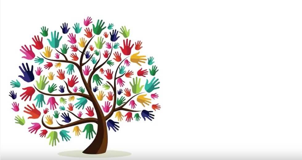 En masse farverige hænder som blade på et træ