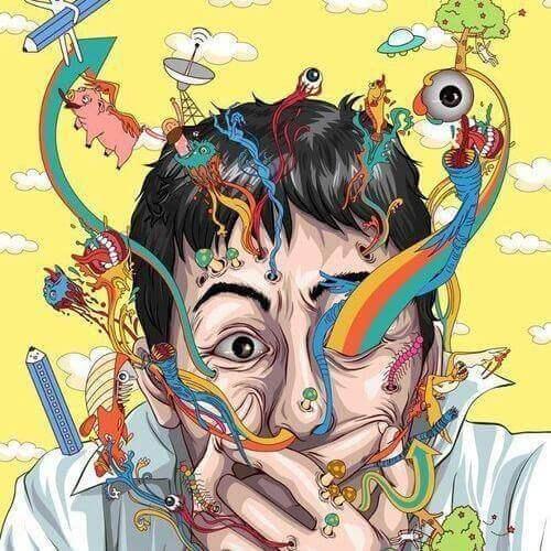 Tegning af mand med illustrationer oplever paranoid skizofreni