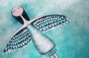 Flyvende engel har ikke noget behov for at være elsket