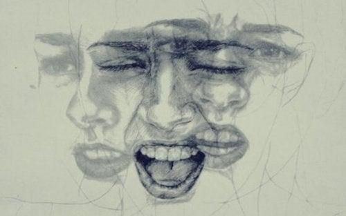 Et ansigt, der udtrykker forskellige følelser, for at illustrere behov for forskellige følelsesmæssige kontrolteknikker