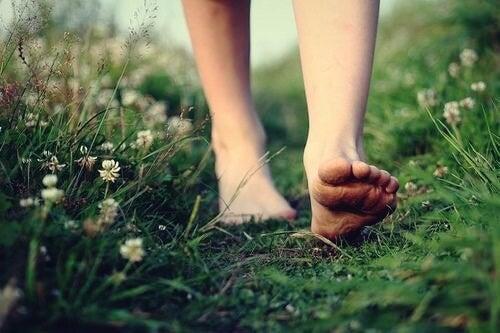 bare fødder i græs