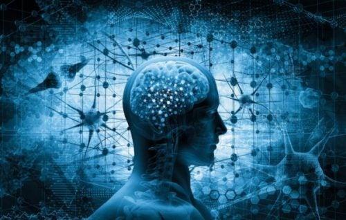 Person med hjerne i blå nuancer
