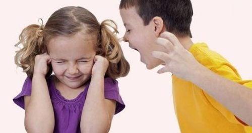Dreng råber af søster som eksempel på chikane i familien