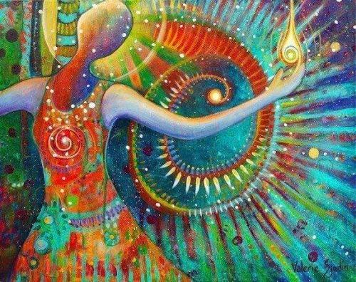 Maleri af farverig person