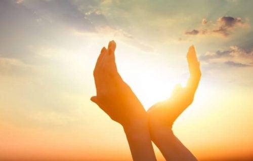 Hænder med solen imellem