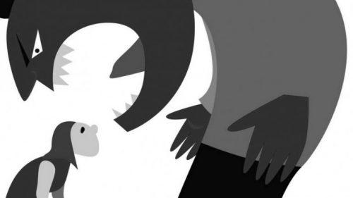 Tegnet monster med lille kvinde