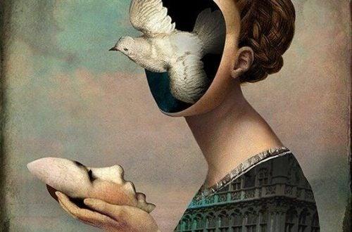 Surrealistisk billede af kvinde med en fugl som ansigt
