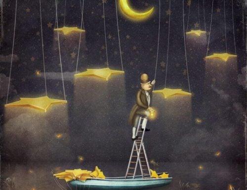 Mand klatrer mod stjernerne