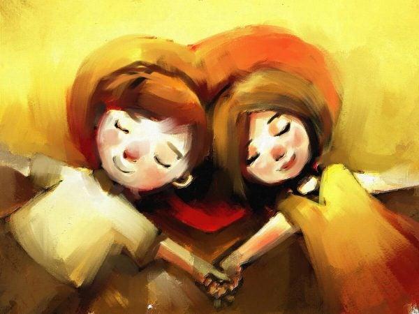 Et par holder i hånd og nyder, at de forstå betydningen af selvkærlighed