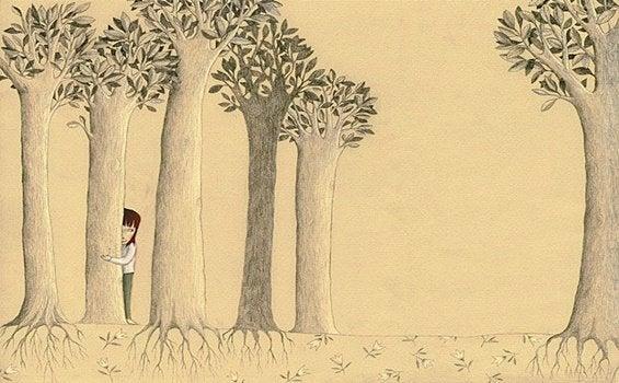 Barn i en kærlighedsløs emotionel alder gemmer sig bag træer