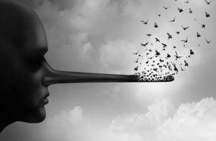 Person med lang næste symboliserer post-sandhed
