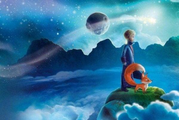 Den lille prins holder øje med baobabtræ i hjertet og på planeten