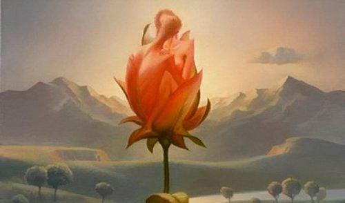 En rose med form som et par