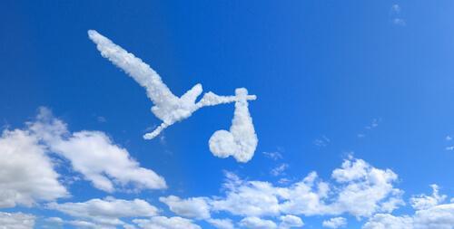 Sky i form af en storke med en baby