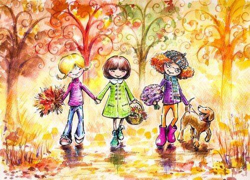 glade børn i skoven