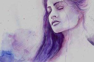 Kvinde med lukkede øjne er midt i en forandring til det bedre