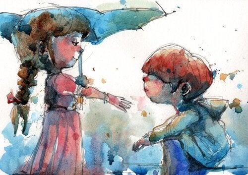 Sørg for at have venner, som er helende mennesker, som denne pige, der hjælper en dreng i regnvejr